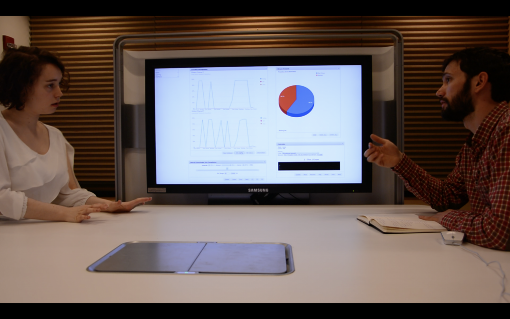two people using the SIDR system. The real time visualization in the background screen shows a pie chart of the ration of speaking time of each participant